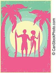 bájos, párosít, közül, surfers, blue, tenger, lenget, képben látható, poster.vector, háttér
