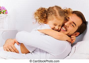 bájos, portré, közül, boldog, atya lány