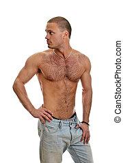 bájos, shirtless, hím, alatt, farmernadrág, elszigetelt, white