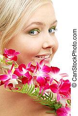 bájos, szőke, noha, orhidea