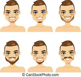 bájos, szakáll, mód, ember