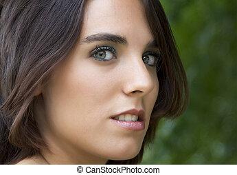 bájos, szemek, nő, nyomasztó, arc