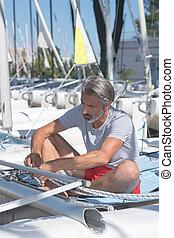 bájos, tengerész, kötélzet, hobbie-cat, előbb, vitorlázás,...