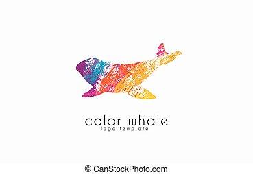bálna, logo., kreatív, logo., tenger, logo., víz, jel,...