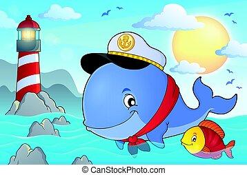bálna, tengerész, téma, kép, 3