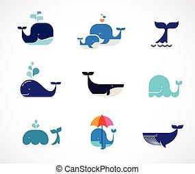 bálna, vektor, gyűjtés, ikonok