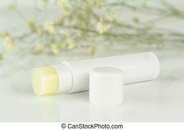 bálsamo de labio, palo, aislado, blanco, plano de fondo
