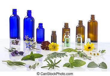 bálsamo, selección, limón, aromatherapy, passiflora, menta, marygold, , tomillo, esencial, planta, sabio, aceite, flor, botella, medicinal, vidrio, lavanda