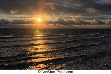 báltico, após, mar, tempestade