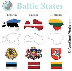 báltico, banderas, estados