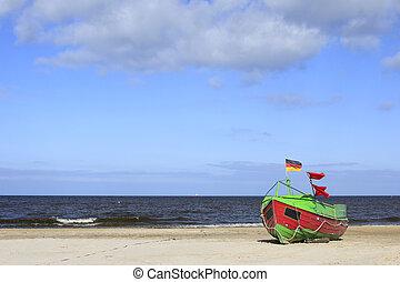 báltico, bote, pesca, mar