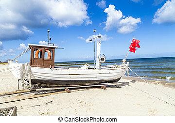 báltico, bote, praia, mar, fishermans