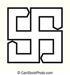 báltico, cruz, fuego, símbolo., ornamental, étnico
