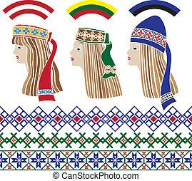 báltico, nacional, niñas, headdresse