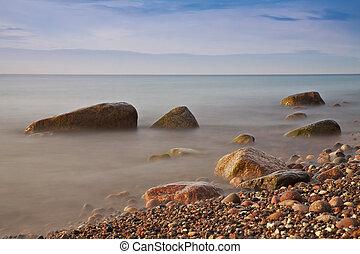Báltico, noite, costa