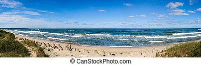 báltico, praia, mar, panorama