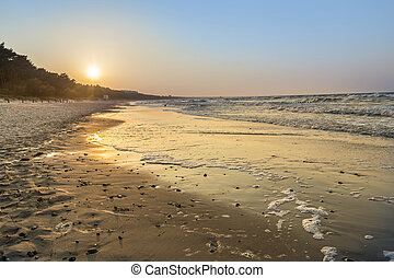 báltico, praia, pôr do sol, mar