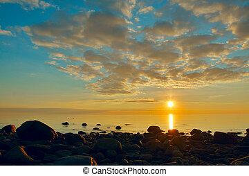 báltico, sobre, pôr do sol, vista mar