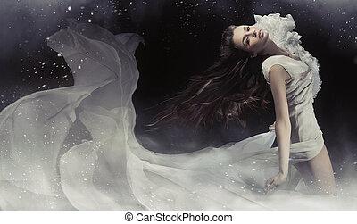 bámulatos, fénykép, közül, érzéki, barna nő, hölgy