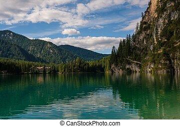 bámulatos, kilátás, közül, lago, di, braies, noha, hegy, erdő, képben látható, a, háttér.
