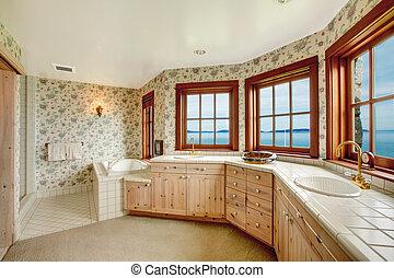 bámulatos, virágos, fürdőszoba, noha, francia ablak