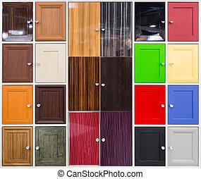bán, kedves, részletez, színes, ajtók