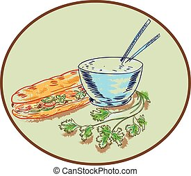 Drawing sketch style illustration of a Bahn mi Vietnamese sandwich with meat and bowl of rice and chopsticks and coriander herb set inside circle.
