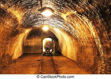 bányászás, útvonal, -, akna, föld alatti railroad