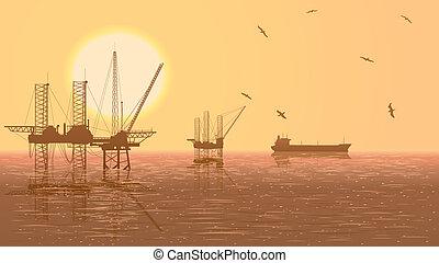 bányakörzetek, industry., olaj, ábra