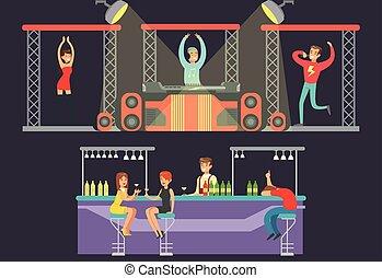 bár, énekes, zene, dj, alkohol, éjszakai mulató, férfiak, hím, tánc, ábra, táncol, vektor, éjszakai mulató, éneklés, showgirl, fél, ivás, nők, játék, iszik