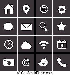 básico, aplicação, vetorial, ícones correia fotorreceptora