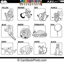 básico, colores, educativo, worksheet, para, colorido