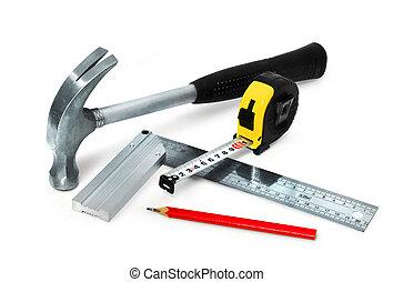 básico, construcción, herramientas, conjunto, blanco, plano de fondo, aislado