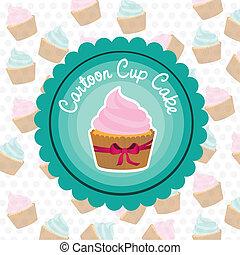 básico, etiqueta, cupcake