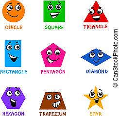 básico, formas geométricas, con, caricatura, caras