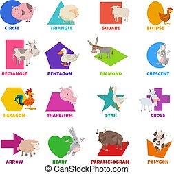 básico, granja, geométrico, conjunto, caricatura, animales, ...