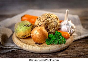 básico, ingredientes, para, cozinhar, ligado, madeira, fundo