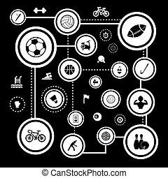 básico, jogo, ícone, esportes