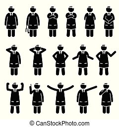 básico, poses, postures., doutor