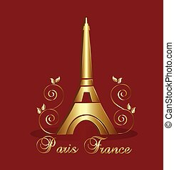 bástya, háttér, vektor, eiffel, paris-france
