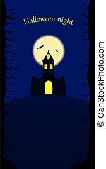 bástya, halloween., éjszaka
