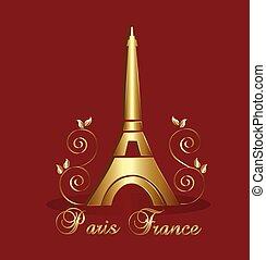 bástya, vektor, háttér, eiffel, paris-france