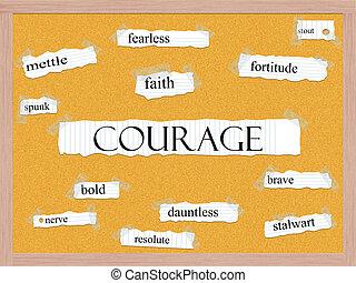 bátorság, corkboard, szó, fogalom