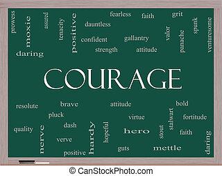 bátorság, szó, felhő, fogalom, képben látható, egy, tábla