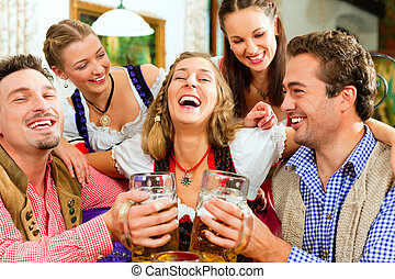 bávaro, bebida, cerveza, bar, gente