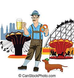 bávaro, cerveza, oktoberfe, hombre