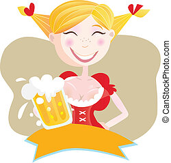 bávaro, mujer, cerveza