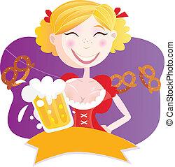 bávaro, mujer, con, cerveza
