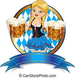 bávaro, niña, con, bandera, y, cerveza