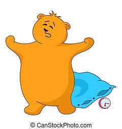 bâiller, oreiller, ours, teddy